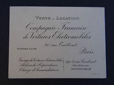 Carte de visite Cie de voiture électromobile PARIS ca1920 électrique Autolib Zoé