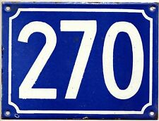 Large old blue French house number 270 door gate plate plaque enamel metal sign