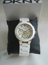 DKNY LADIES WATCH WHITE GOLD CERAMIC CHRONOGRAPH CERAMIC NY4913 BNIB
