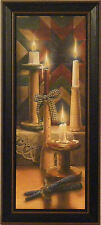 STARLIGHT by Doug Knutson 9x21 FRAMED ART PRINT PICTURE Quilt Candles Country
