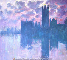 """""""Houses of Parliament at Sunset"""" Monet, Reproduction in Oil on Canvas, 36""""x32"""""""