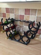 Horse Shoe 7 Bottle Wine Rack Stand With 4 Glass Holders Christmas Present