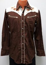 vtg Sears BROWN Cream Floral Two Tone WESTERN Shirt M cowboy 80s Smile Pockets