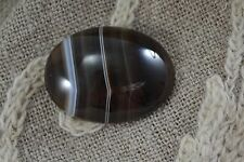 ANTIQUE VICTORIAN large banded AGATE BROOCH cabochon oval shape