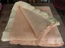 "VINTAGE all wool Early's of Witney DOUBLE blanket ~ peach cellular ~ 84"" x 80"""