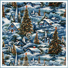 BonEful Fabric FQ Cotton Quilt Blue White Scene Snowflake Xmas Tree Church Star