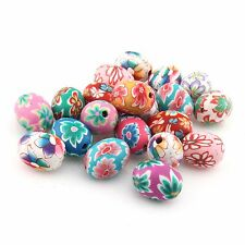 100 Mode Best Oval Blume Muster Fimo Polymer Clay Perlen Beads 15x10mm 110873