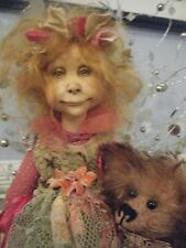 Yvonne Flipse 'Coco and Her Bear' OOAK Paper Clay Doll & Bear