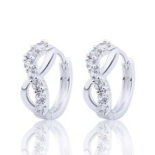 18K White Gold filled white Sapphire vogue silk-stocking beautiful hoop earrings