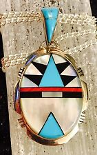 Native American  INLAY Silver Pendant ,Zuni inlay  multiple stones