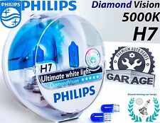 H7 Philips Diamond Vision 5000K Car Headlight Bulbs 12V 55W PX26d +Blue W5W 2pc