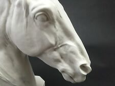 Thoroughbred Horse Head, Carrara Marble Sculpture Horse Lovers Gift, Ornament.