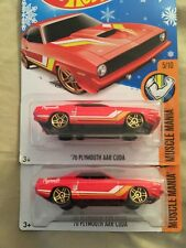 Lot of 2 Hot Wheels 70 Plymouth AAR Cuda Red Yellow Muscle Mania Snowflake Card