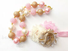 3 PCS SET Gold&Pink Chunky Bubblegum Bead Girls Necklace Bracelet Headband CB801