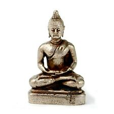 "TINY WHITE BRONZE BUDDHA STATUE 1"" Small Miniature Taliman Buddhist Amulet NEW"