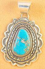 Navajo Sterling Silver Pendant Rare Gem USA Candelaria Turquoise Donovan Cadman