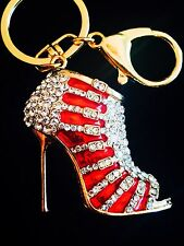 Keychain Austrian Crystal High-Heeled Shoes Christmas gift Princess Red