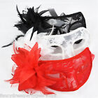 Lace Flower and Feather Venetian Masquerade Sexy Ball Carnival Fancy Dress Mask