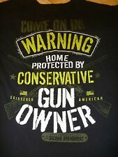"""2ND AMENDMENT T-SHIRT MEN'S M """"WARNING HOME PROTECTED BY CONSERVATIVE GUN OWNER"""""""