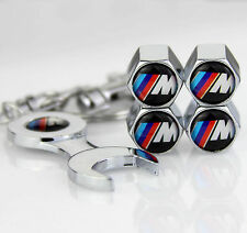4x Car Tyre Stems Air Cover Valve Caps + Wrench Keychain Key ring For///M sports