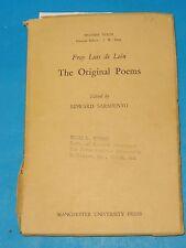THE ORIGINAL POEMS OF FRAY LUIS DE LEON * MANCHESTER UNIVERSITY 1953