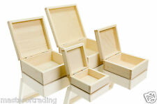 Great Set of 4 Natural Plain Storage Boxes Decoupage Jewellery Collection