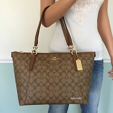 NEW! COACH Gorgeous Signature PVC Leather Shoulder Bag Zip Tote Purse Brown