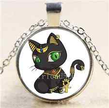 Egyptian Black Cat Cabochon Glass Tibet Silver Chain Pendant Necklace