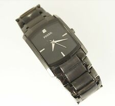 Fossil Men's FS4159 Black IP Steel Watch Square Black Analog Dial