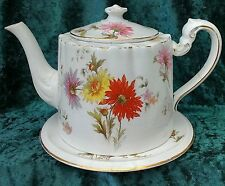 Vintage antique old maling tea pot & support floral rare 1900s