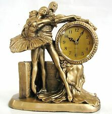 NEW GOLD BRASS TONE RESIN WOMAN+MAN BALLET,BALLERINA CLOCK+BOX-5306