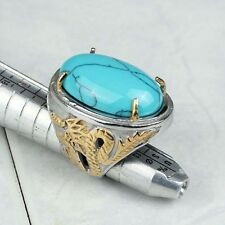 Fashion Stainless Steel Big Blue Turquoise Gold Plated Dragon Men's Ring Size 7