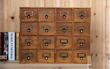 Wooden Vintage 16 Multi Drawer Handle Storage Unit Rustic Office