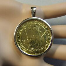 18ct gold New plain pendant that will fit a one Oz gold bullion britannia coin