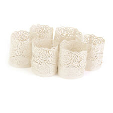 6 Rose Pattern Led Candles Tea Light Holders for Christmas Festival Decor Beige