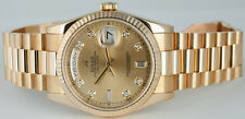 ROLEX Mens 36mm 18kt Gold DayDate President Champagne Diamond 118238 SANT BLANC
