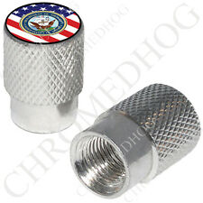 2 Silver Billet Aluminum - Tire Valve Stem Cap for Motorcycle - USA Flag Navy O