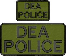"DEA police Embroidery patches 4.75 X 10"" and 3x5 hook black letters"