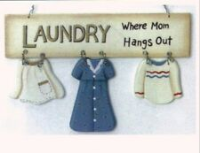 """8x5"""" Wood LAUNDRY WHERE MOM HANGS OUT Sign  Room Country Primitive Vintage Decor"""