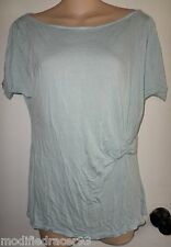 Raoul T Shirt Top Jersey Knit Boat Neck Ruched Light Blue XL
