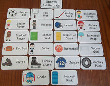 Sports themed Flash Cards.  Preschool Picture and Word Flash Cards for children.
