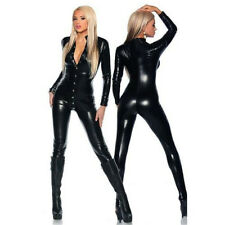 Women Vinyl PVC Wetlook Leather Sexy CATSUIT CLUBWEAR Motor Jumpsuit Bodysuit