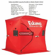 69143 Eskimo QuickFish 3 Man Ice Shelter Fishing Shanty Portable Worldwide Ship