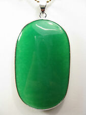 925 silver green jade large oval shape pendant (without chain)