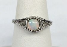 David Connolly 14k White Gold Antique Style Opal & Diamond Ring Size 6.75 - 2.5g