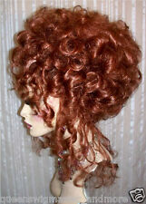 Drag Queen Wig Up Do French Twist Small Curls Auburn Red Tendrils