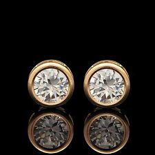 2.5CT Brilliant Cut Diamond Bezel Earrings 14K Solid Yellow Gold Solitaire Studs
