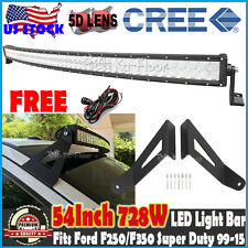 "54""inch CREE 728W Curved LED Light Bar Mount Fit Ford F250/F350 Super Duty 99-15"