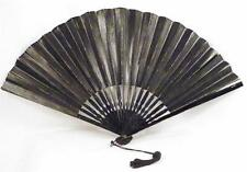 Antique Victorian Mourning Folding Fan Black Paper Wooden Sticks Guards