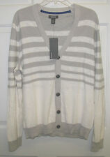 NWT KENNETH COLE REACTION LIGHTWEIGHT CARDIGAN SWEATER LT GRAY/BEIGE  XL $65